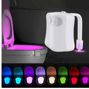 Wholesale WC Toilet Light Smart PIR Motion Sensor Toilet Seat Night Light Colors Waterproof Backlight For Toilet Bowl LED Luminaria Lamp