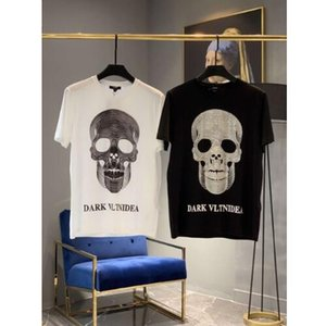 Wholesale High Quality New skull diamond brand clothing mens summer printed o neck skull cotton short sleeve fashion cool t shirt