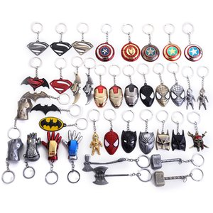 40 styles Metal Keychain Iron Man Thanos Infinity Gloves Mask Marvel Universe Series Spiderman Alloy Keyring Accessories on Sale