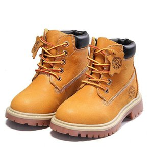 Wholesale New High Quality Genuine Leather Boy Girl Boots 21-37 Autumn Yellow Martin Boots For Boys Plush Warm Winter Shoes For Girls Kids Y190525