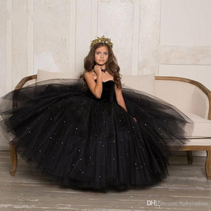 Wholesale Little Black Kids Toddler Girls Pageant Dresses Arabic Dubai Sweety Princess Ball Gown Tulle Formal Wear Gowns Flower Girl Dress Sweetheart