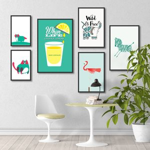Wholesale Cartoon Cat And Zebra Flamingo Animal Poster Art Print Canvas Painting Picture Home Wall Art Graffiti Modern Decoration Custom