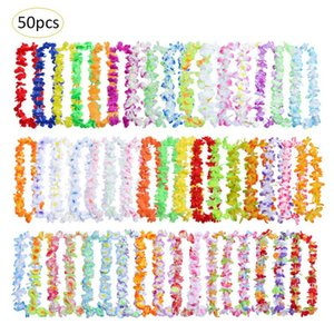 Wholesale 50PCS Hawaiian Wreath Hawaiian Leis Garland Artificial Necklace Hawaii Flowers Leis Spring Party Supplies Beach Fun Wreath