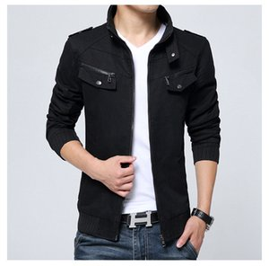 New Autumn Mens Jackets Stand Collar Cotton Zipper Coat with Pockets Plus Size M - 4XL