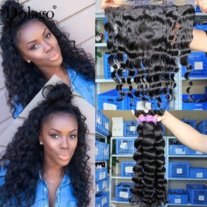 Loose Wave Bundles With Frontal Closure 3 Brazilian Hair Weave Bundles With Closure 4 Pieces Lot Remy Human Hair 13x4 Lace Dolago