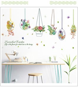 Wholesale paint basket resale online - Succulents basket painting Wall Sticker Home Decor DIY kids room Decals Living room Background Mural art poster window stickers