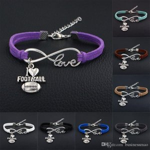 Wholesale 2018 New Sport Punk Infinity Love bracelets I LOVE football leather suede diy Charm bracelet bangles sport team gift for women men jewelry