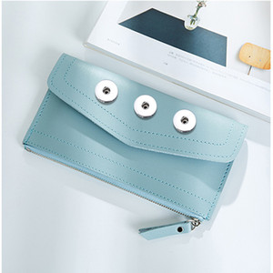 Fashion Simple Style Bag 18mm Snap Button Purse Pu Leather Wallet Bags Charms Jewelry For Women Gift 19cm*10cm *1cm