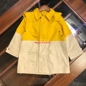 Wholesale windbreaker Children kids designer clothing boys and girls autumn color matching windbreaker double button design coat