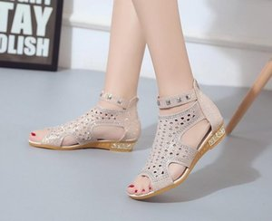 Wholesale Women Wedge Sandals Leather Casual Low Heel Sexy Crystal Zipper Peep Toe Lady Summer Dress Shoes Zapatos Mujer Colors
