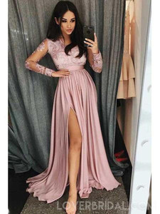 Wholesale Pink Lace Chiffon Formal Dresses Evening with Long Sleeve Sexy Side Slit Full length Custom Sweet Occasion Prom Party Dress