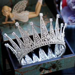 Wholesale Full Round Crown Rhinestone Crystal Round Tiara Crown Bride Full Circle Bridal Wedding Hair Accessories Hair Jewelry Princess
