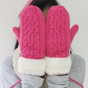 Wool Acrylic Winter Dpuble Layer Thick Cashmere Wool Adult Warm Knit Twist Full Finger Gloves Soft Lady Fur Mittens With Long Rope Hot
