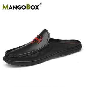 Wholesale Mens Loafers Shoes Big Size Summer Men Loafers Slippers Slip On Lazy Shoes Black White Half Drag Male Walking Casual