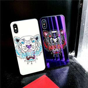 Wholesale Luxury designer phone cases For iPhone XS MAX iphone plus Anti fingerprint Tempered Glass print tiger Blue Light phone back cover