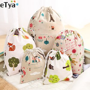 Wholesale eTya Women Cute Drawstring Bags Fashion Travel Cosmetic Cloth Shoes Bag Cotton Small Coin Money Sanitary Napkin Pouch Case