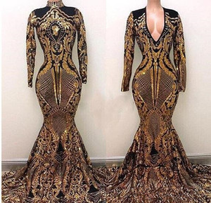 Wholesale Yousef Aljasmi High Neck Evening Dresses Black And Gold Sweep Train Luxury Mermaid sparkly sequins applique Long Sleeve prom Gowns