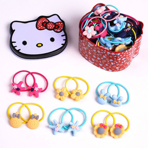 Wholesale hair rings children 40 pcs small leather bands pair cartoon resin High Quality Hair Band Ring Rope Candy Color Bracelet Stretchy Scrunchy