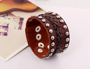 Wholesale Men Love Desiger Bracelet Wide Cowhide European Restore Ancient Ways Punk Genuine Leather Export Trade Jewelry New Pattern Man Bracelet