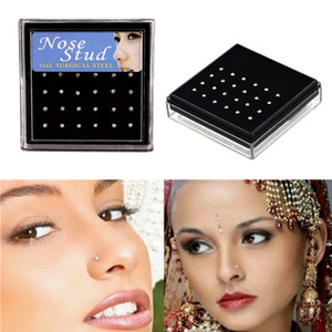 24pcs set Crystal Nose Ring Studs Stainless Surgical Steel Nose Piercing Colorful Rhinestone Fashion Body Women Girl Jewelry
