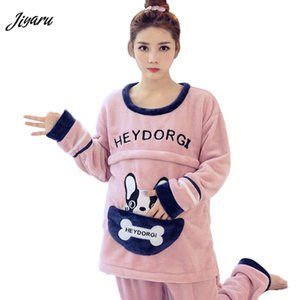 Wholesale 2pcs Set Maternity Loungewear Pregnant Nursing Pajamas Maternity Sleepwear Cartoon Breastfeeding Clothes for Pregnant Women