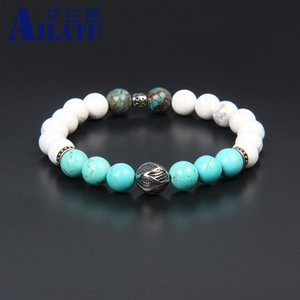 Wholesale Men s Jewelry Stainless Steel Round Ball Beaded Bracelets White Blue Natural Stone Elastic Bracelet Never Fade