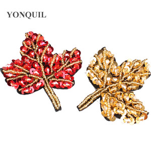 Red Gold leaves style rhinestone sew on patches applique Maple for clothing bag hats diy jewelry accessories 12pcs lot SYBB128