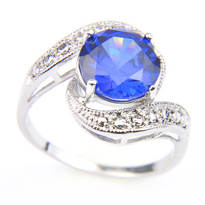 Wholesale rings london for sale - Group buy Luckyshine Sterling Silver Plated Round London Blue Topaz Charm Rings Anniversary Gift Rings Lady