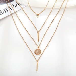 Wholesale Simple Style Retro Vintage Multilayer Stackable Necklace for Women Girls Star Round Plate Bars Gold Color