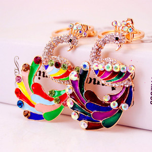 Wholesale 3pcs Colorful Drip Oil Rhinestone Alloy Animal Peacock Key Chain Bag Pendant Car Accessories Keyring Holder Women Bag Decor