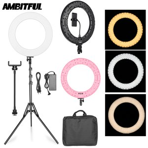Wholesale 18 quot W LED Ring Light Annular Lamp Bi color K K Ring Lamps with Light Stand for Video YouTube Ringlight Makeup