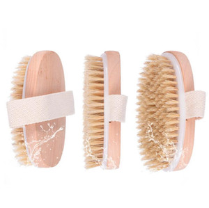 100pcs Bath Sponges Dry Skin Body Soft Natural Bristle SPA Massage Brush Wooden Bath Brush SPA Body Brush without Handle DHL Shipping