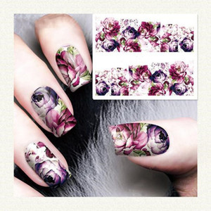 Wholesale 1PC Nail Sticker Fashion Rose Flower Nail Art Water Decals Transfer Stickers Tip Decoration DIY for Nails Accessories Girls