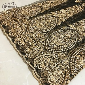 Wholesale Mesh Lace Golden Three dimensional Embroidery Fabric High end Custom Apparel Fabrics Encrypted Embroidery Skirt Cloth