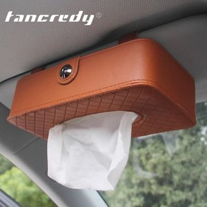 Wholesale Automotive Multi function Tissue Box Sun Visor Car Hanging Functional Storage Paper Car Box With Sheepskin Grain Towel Container