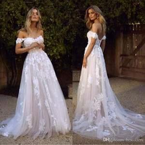 Wholesale beautiful detailed wedding dresses resale online - Beautiful Country Boho Wedding Dresses Sexy Backless A Line Off Shoulder Appliqued Tulle Long Summer Bridal Gowns Bohemian BM1510
