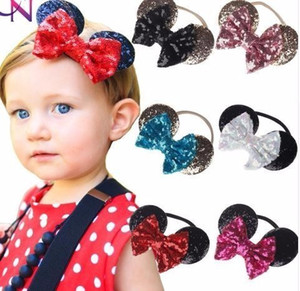 Cute Ears Nylon Headband With Sequin Bow For Kids Girls Boutique Hair Bows Elastic Hairband Hair Accessories