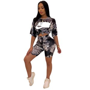 NK Letters Brand Women Two Piece Outfits Tie-Dyed Print Crop T-shirt + Shorts Sets Summer Designer Tracksuits Clothes Sportswear Suit C61103 on Sale