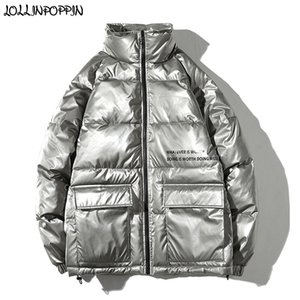 Wholesale Men Silvery Gray Winter Parkas Stand Collar Thick Padded Jacket Letters Printed Front Flap Pockets Loose Mens Winter Coat