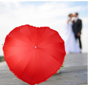 Red Heart Umbrella Best Love Gift for Wedding and Lovers Stick Heart Shape long-handle Umbrella KKA6500 on Sale