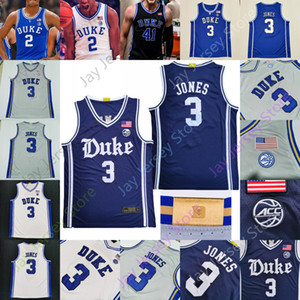 Custom 2020 New Duke Basketball Jersey College Tre Jones Vernon Carey Jr Laettner Redick Hurt Wendell Baker Cassius Stanley Coach K