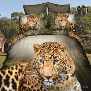 Wholesale 3D Wild Leopard Bed Linens Set Lovely Animal Bed Cover Sets Flat Sheet Pillowcase Duvet Cover Set Bedclothes Bedding King