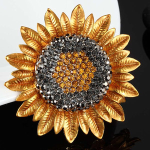 Wholesale Zlxgirl hot selling yellow brown sunflower brooches pins christmas jewelry Perfect rhinestone hijab accessory women brooch