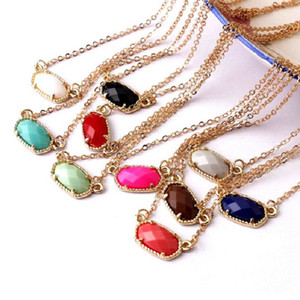 Wholesale day collars for women resale online - Hot Designer Inspired Kendra Spring Style Abalone Shell Faceted Resin Oval Stone Choker Collar Statement Necklace for Women
