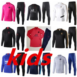 Wholesale Paris Kids Soccer Tracksuit Kit Real Madrid Enfant PSG Training Suit Marseille tracksuits messi survetement child Football