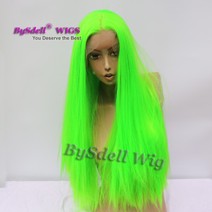 Wholesale younger grass green color hair wig synthetic long straight bright green hair lace front wig female fantasy fashion wigs