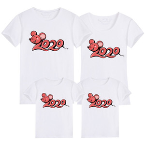 Family Matching Clothes 2020 New Year Summer Print T-shirt Mommy and Daughter Father and Son Clothes Family Look