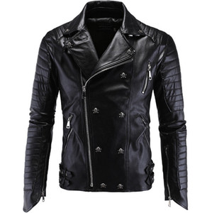 Men Leather Jacket PU Clothing Boutique Punk Leather Jacket Men New Skull Motorcycle Multi Zippers Slim Fit M-5XL