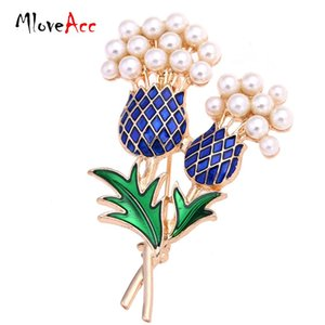 Wholesale- MloveAcc Elegant Women Enamel Pineapple Tree Brooch Suit Pin Simulated Pearls Gold Plated Fashion Collar Corsage Shirt Badge
