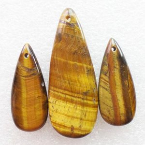 New Natural 3pcs Set Tiger Eye Gem Teardrop Gemstone Jewelry Pendants Beads Sets for Necklaces Making Wholesale